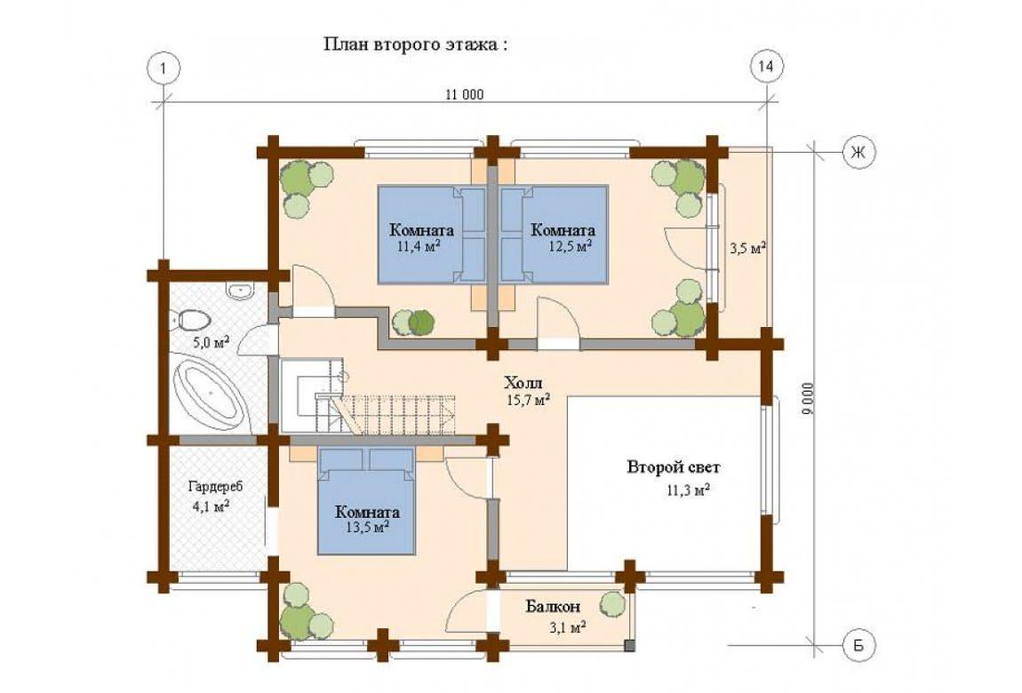 План N2 проекта дома из клееного бруса АСД-Шале