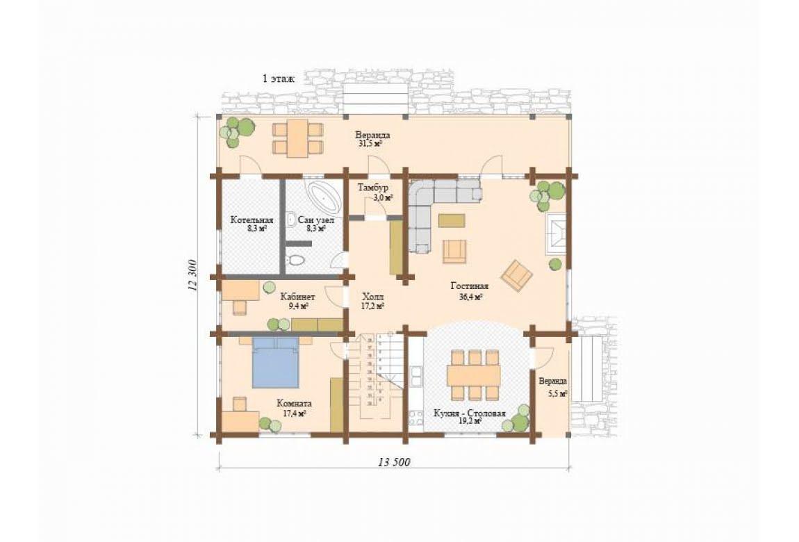 План N1 проекта дома из клееного бруса АСД-Анси