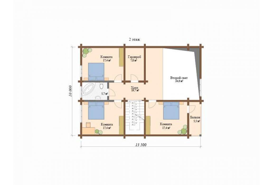 План N2 проекта дома из клееного бруса АСД-Анси