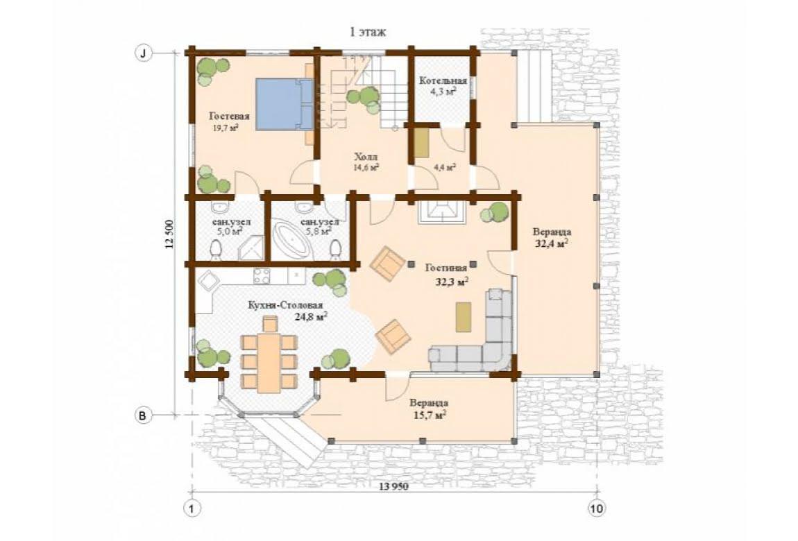 План N1 проекта дома из клееного бруса АСД-Валенсия