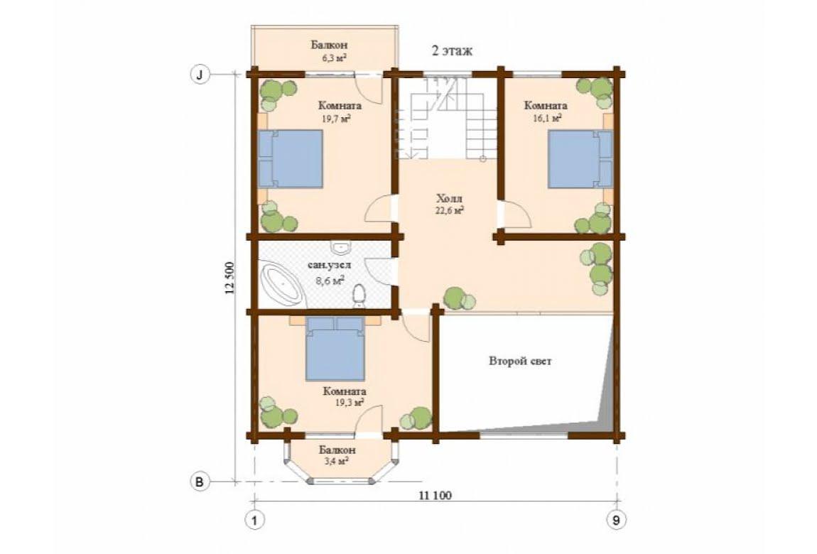 План N2 проекта дома из клееного бруса АСД-Валенсия
