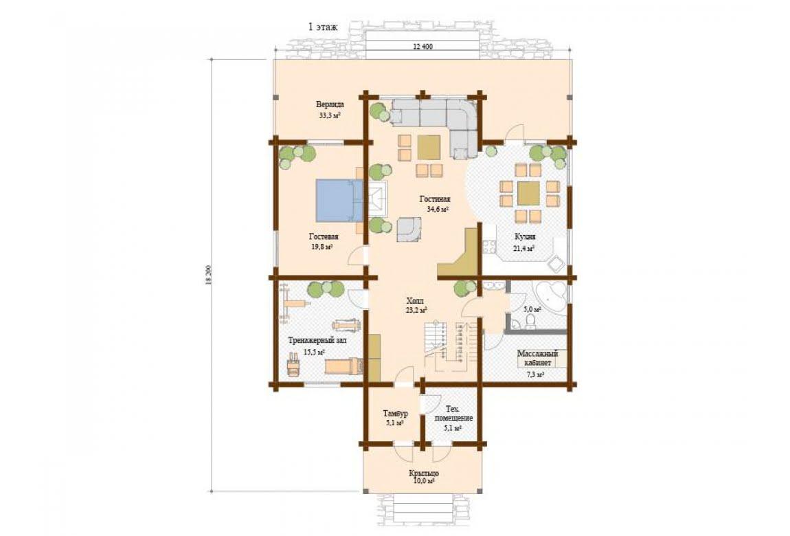 План N1 проекта дома из клееного бруса АСД-Версаль