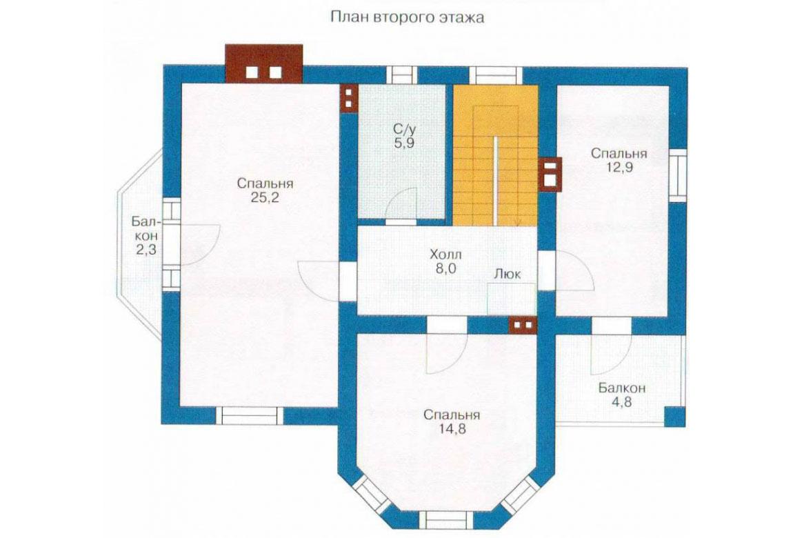 План N1 проекта кирпичного дома АСД-1006