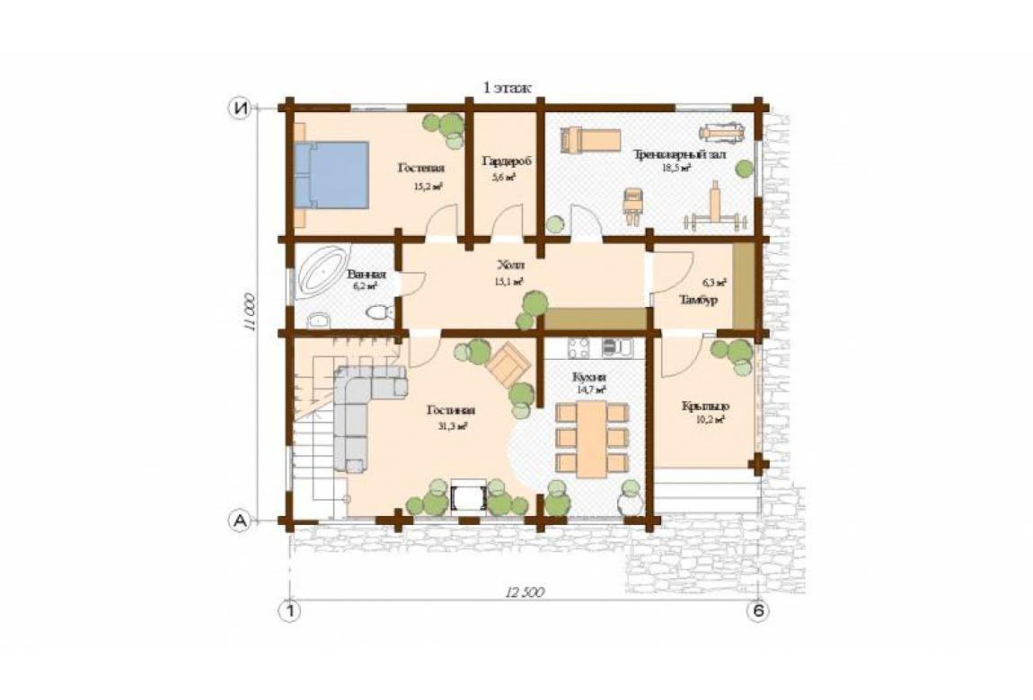 План N1 проекта дома из клееного бруса АСД-Женева