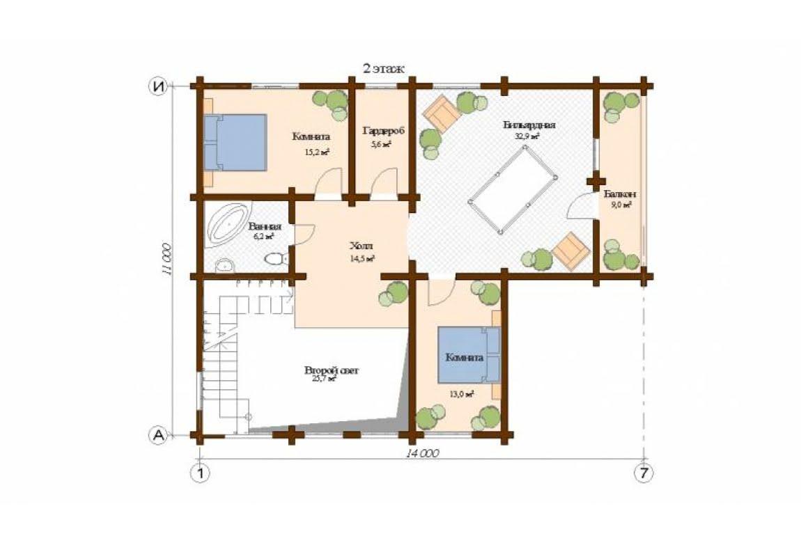 План N2 проекта дома из клееного бруса АСД-Женева