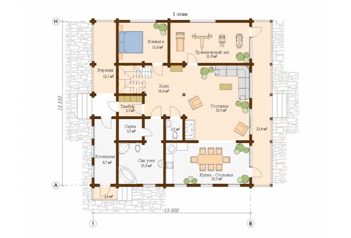 План N1 проекта дома из клееного бруса АСД-Инсбург