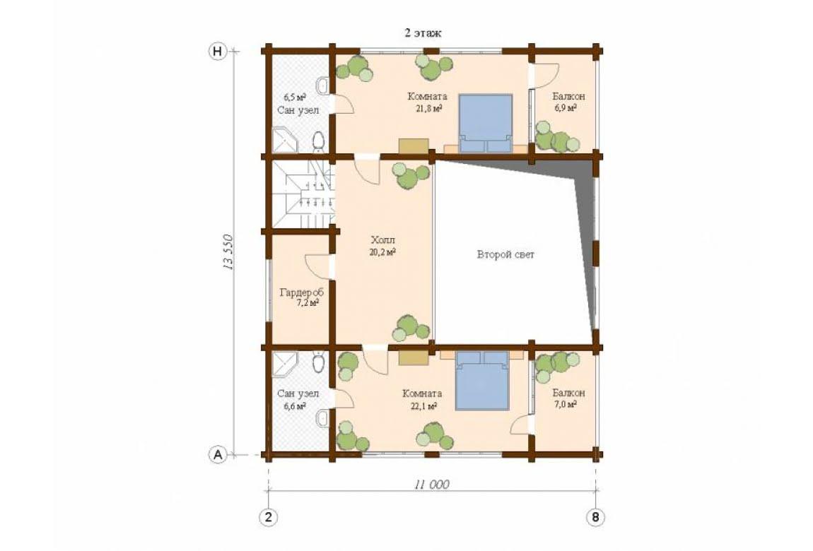 План N2 проекта дома из клееного бруса АСД-Инсбург