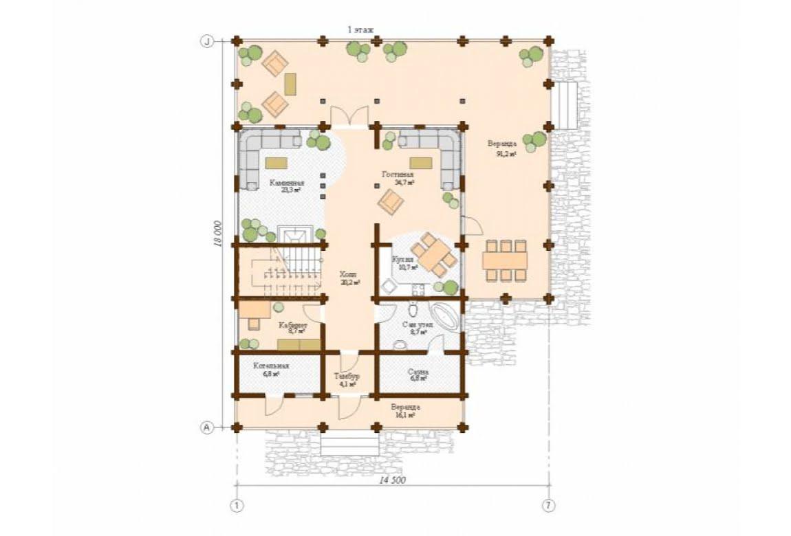План N1 проекта дома из клееного бруса АСД-Леон