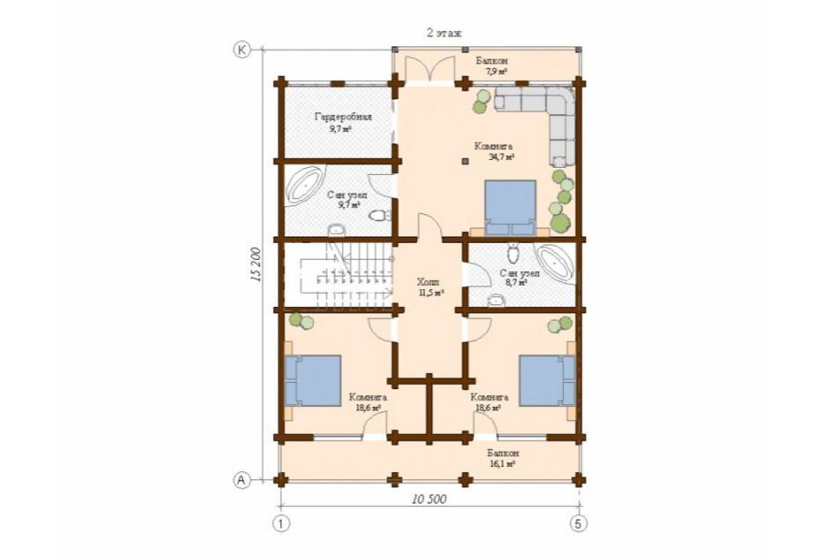 План N2 проекта дома из клееного бруса АСД-Леон