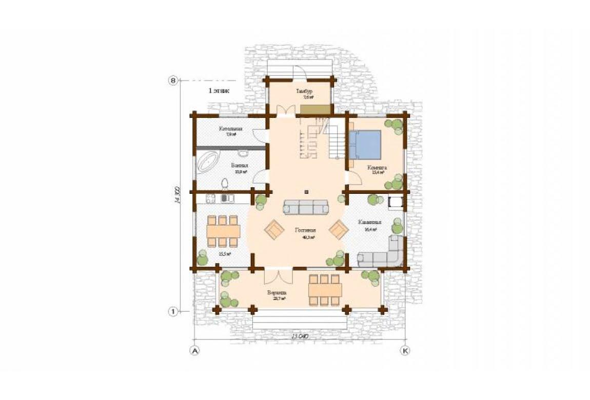 План N1 проекта дома из клееного бруса АСД-Мельбурн