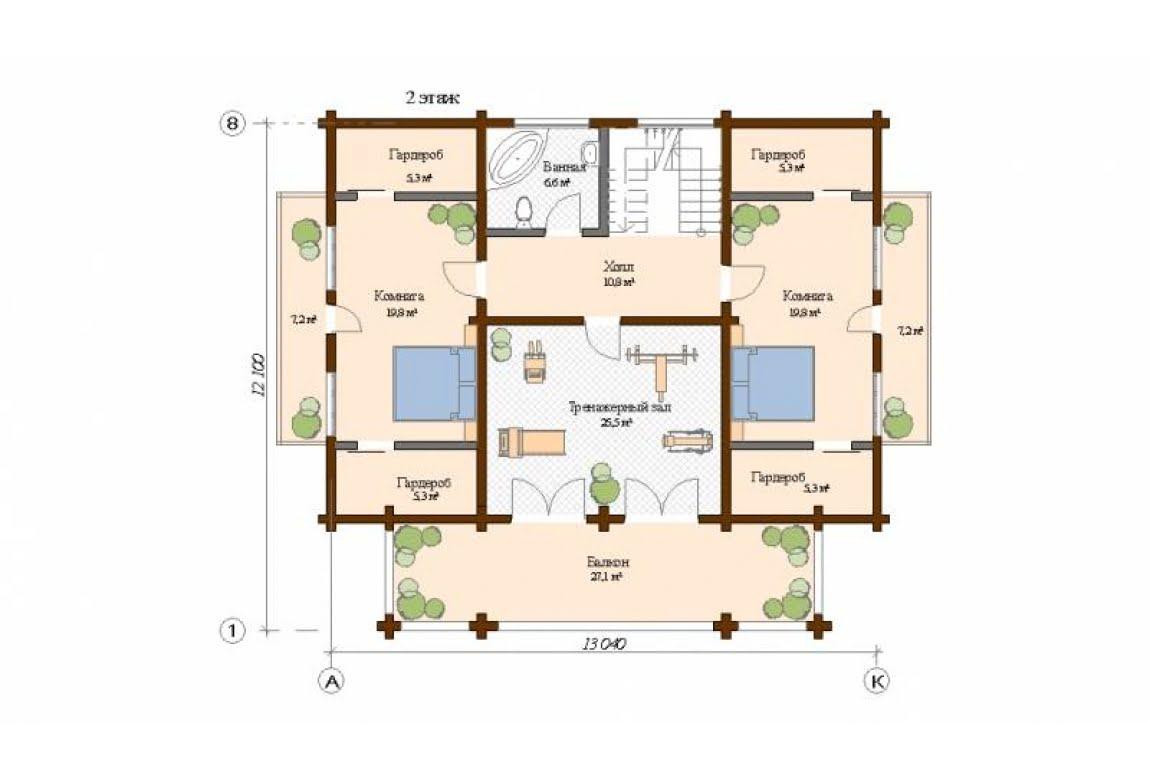 План N2 проекта дома из клееного бруса АСД-Мельбурн