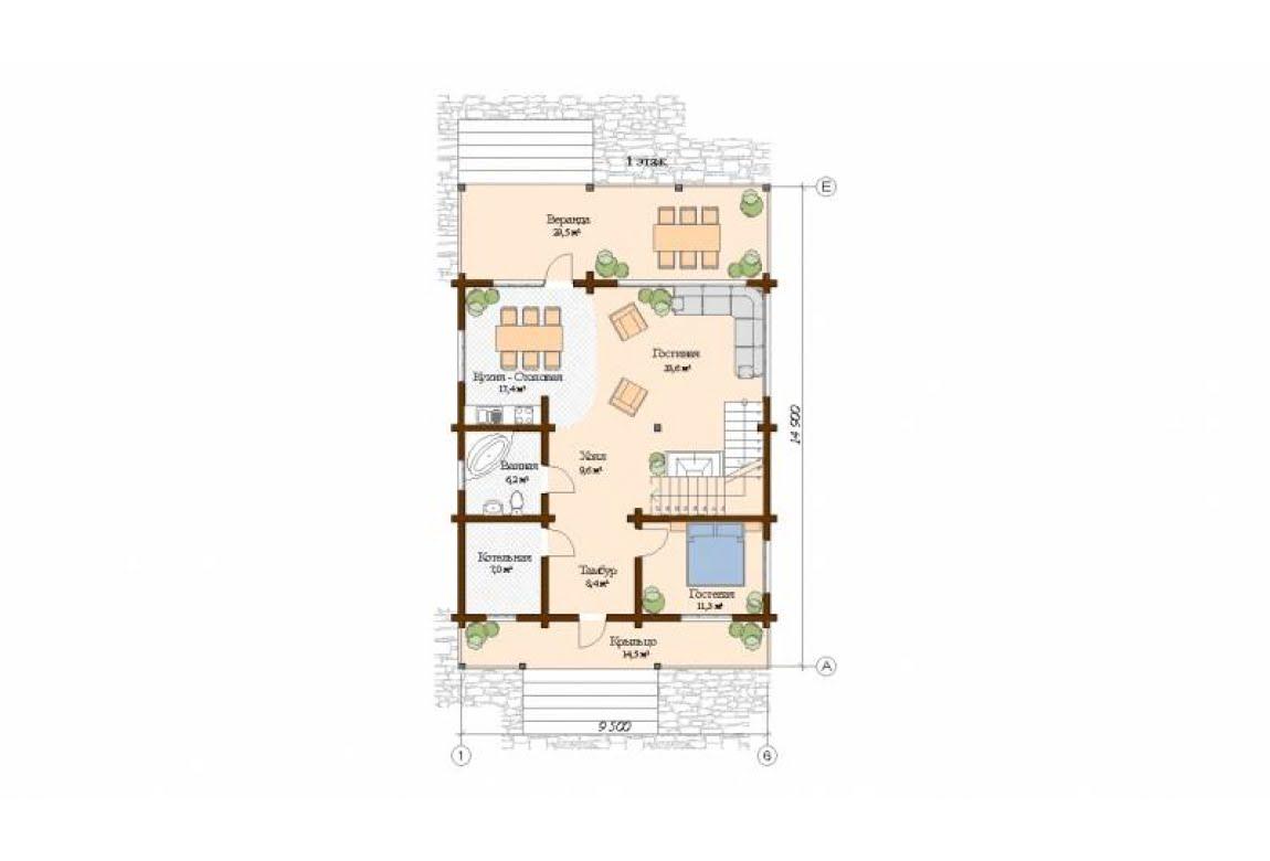 План N1 проекта дома из клееного бруса АСД-Ницца