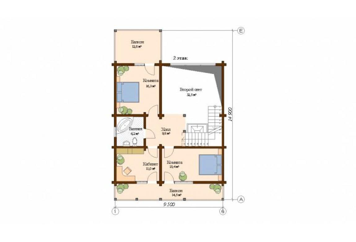 План N2 проекта дома из клееного бруса АСД-Ницца
