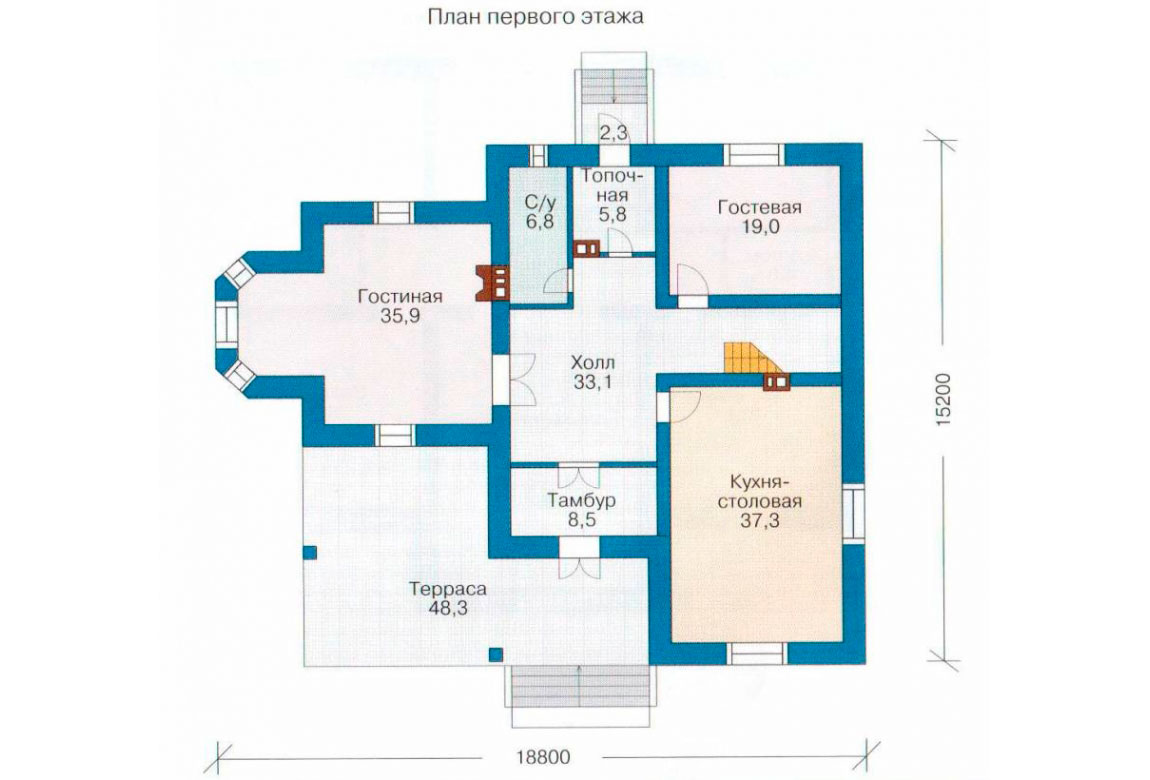 План N2 проекта кирпичного дома АСД-1061