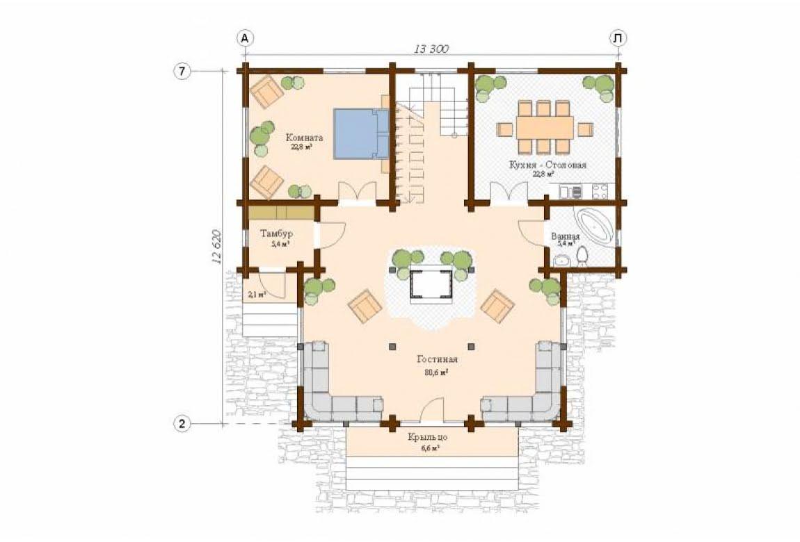 План N1 проекта дома из клееного бруса АСД-Сидней