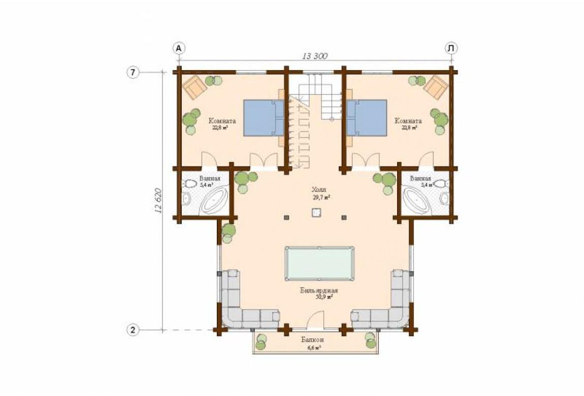 План N2 проекта дома из клееного бруса АСД-Сидней