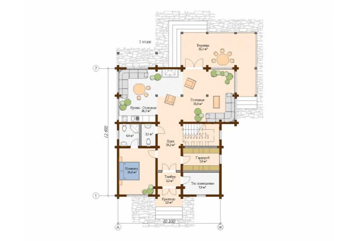 План N1 проекта дома из клееного бруса АСД-Сканди