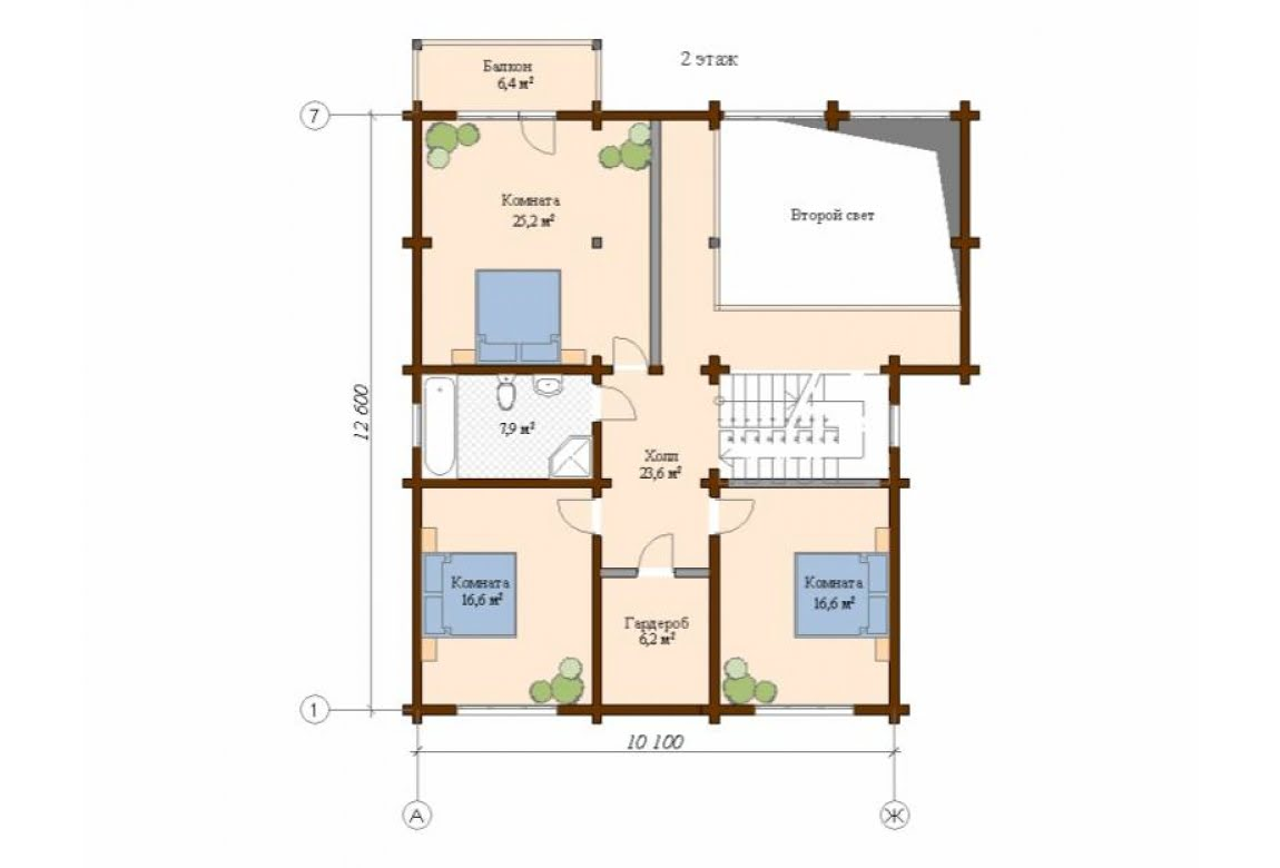 План N2 проекта дома из клееного бруса АСД-Сканди