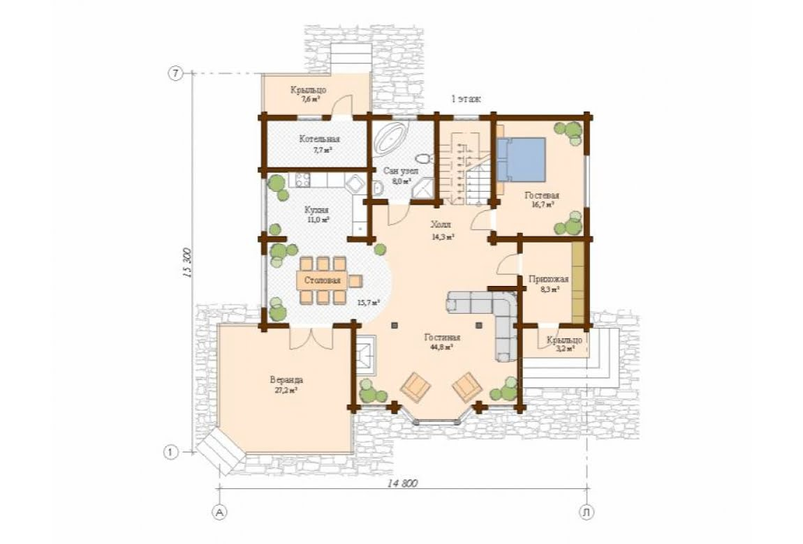 План N1 проекта дома из клееного бруса АСД-Толедо