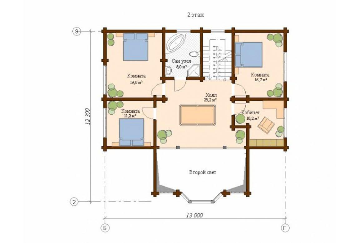 План N2 проекта дома из клееного бруса АСД-Толедо
