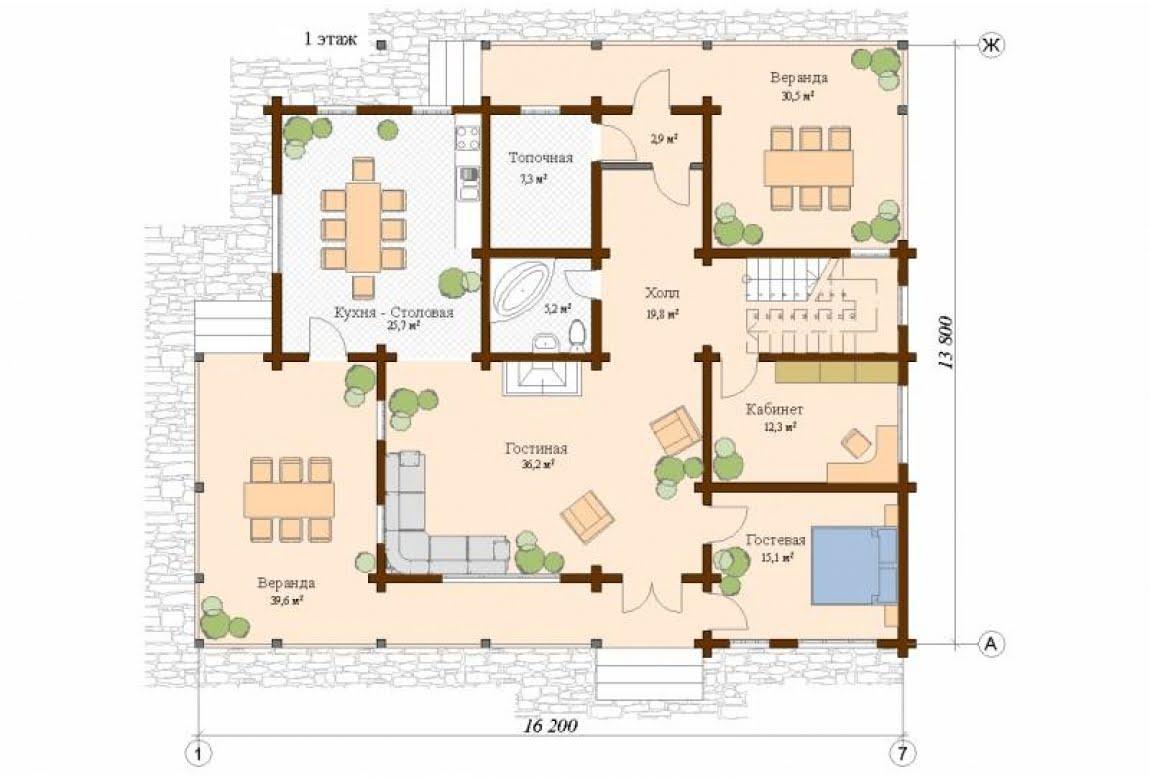План N1 проекта дома из клееного бруса АСД-Цюрих
