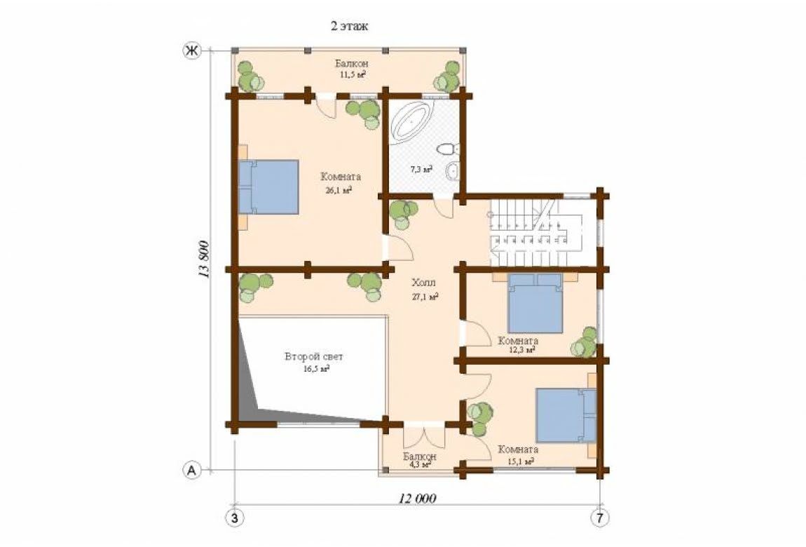 План N2 проекта дома из клееного бруса АСД-Цюрих
