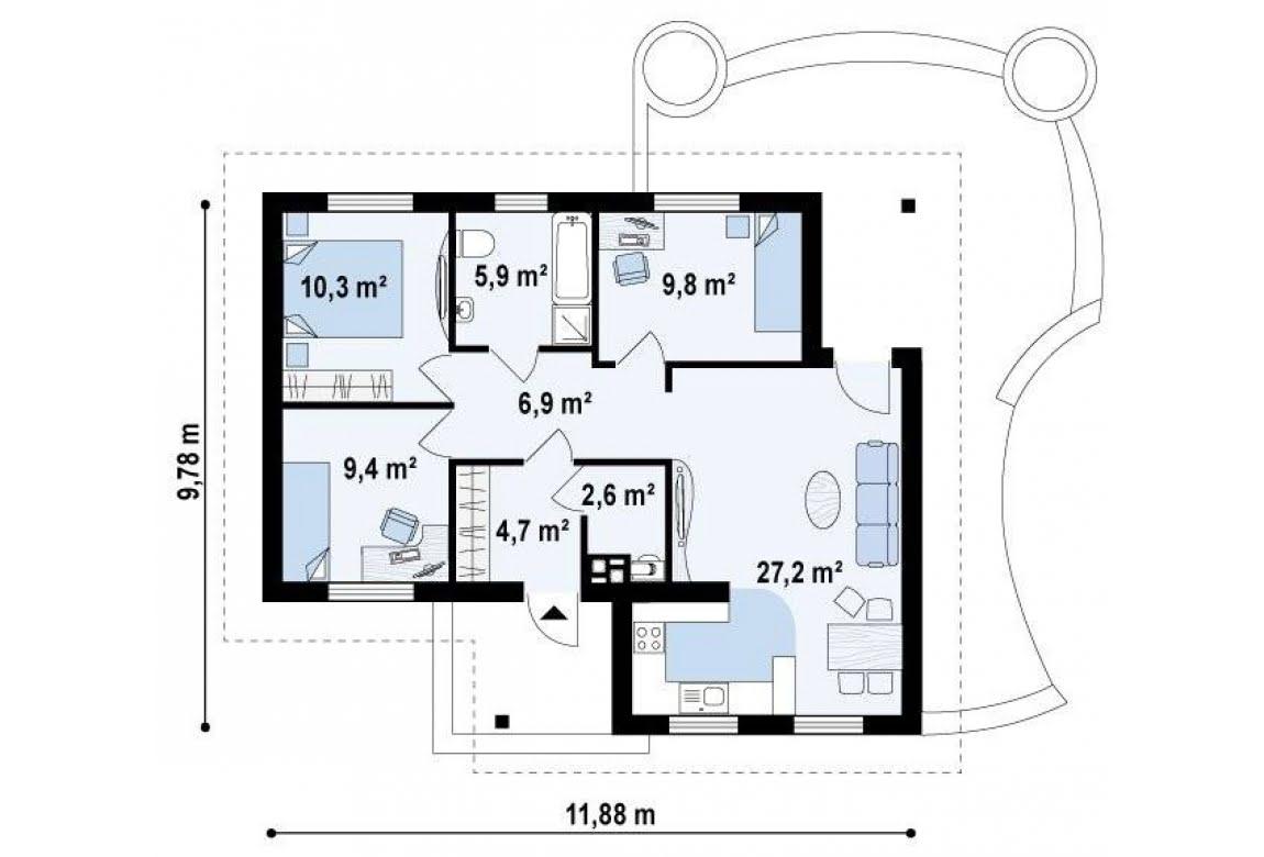 План N1 проекта дома из СИП-панелей АСД-1623