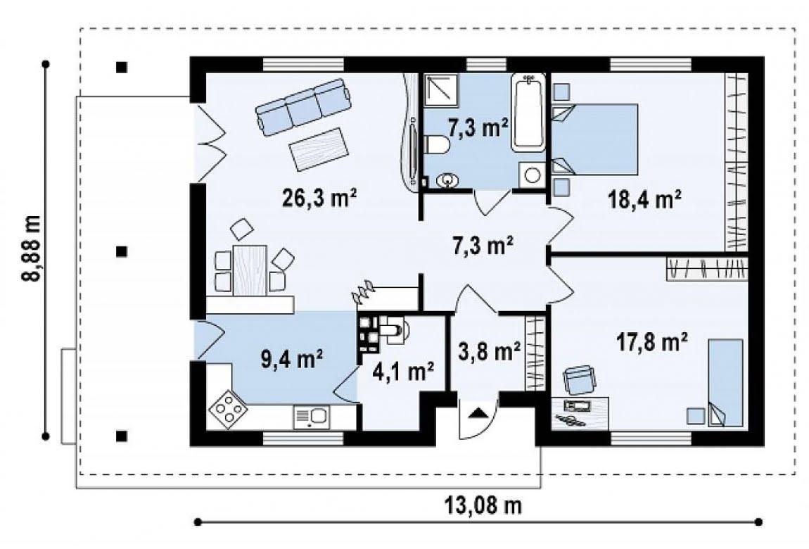 План N1 проекта дома из СИП-панелей АСД-1626
