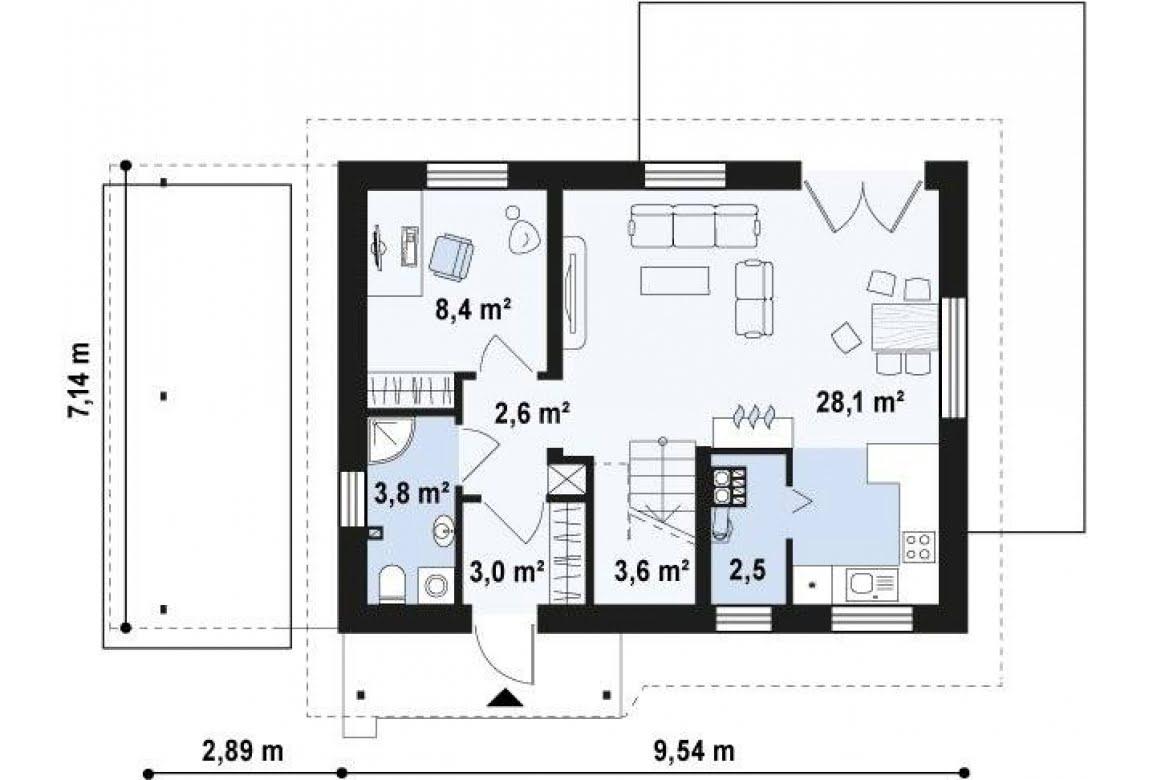 План N1 проекта дома из СИП-панелей АСД-1627