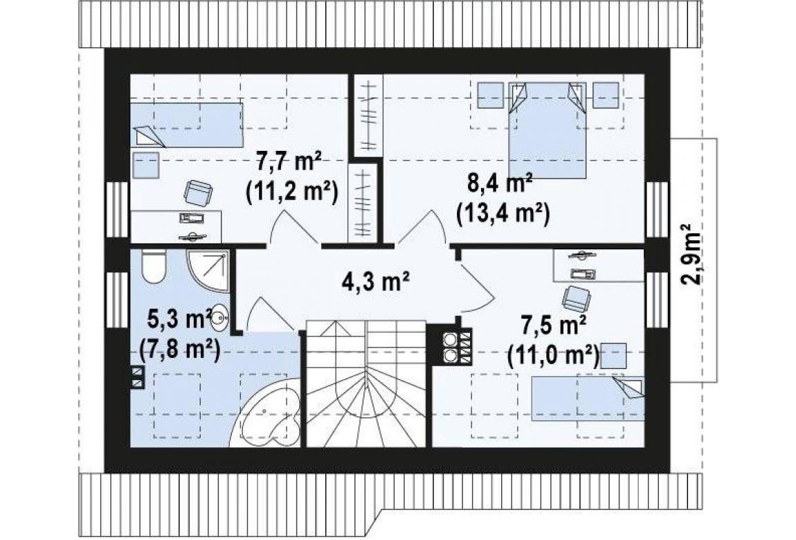 План N2 проекта дома из СИП-панелей АСД-1627