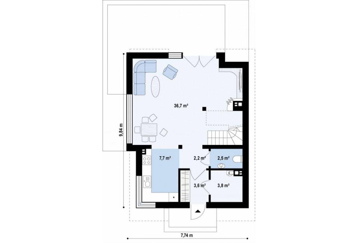 План N1 проекта дома из СИП-панелей АСД-1628