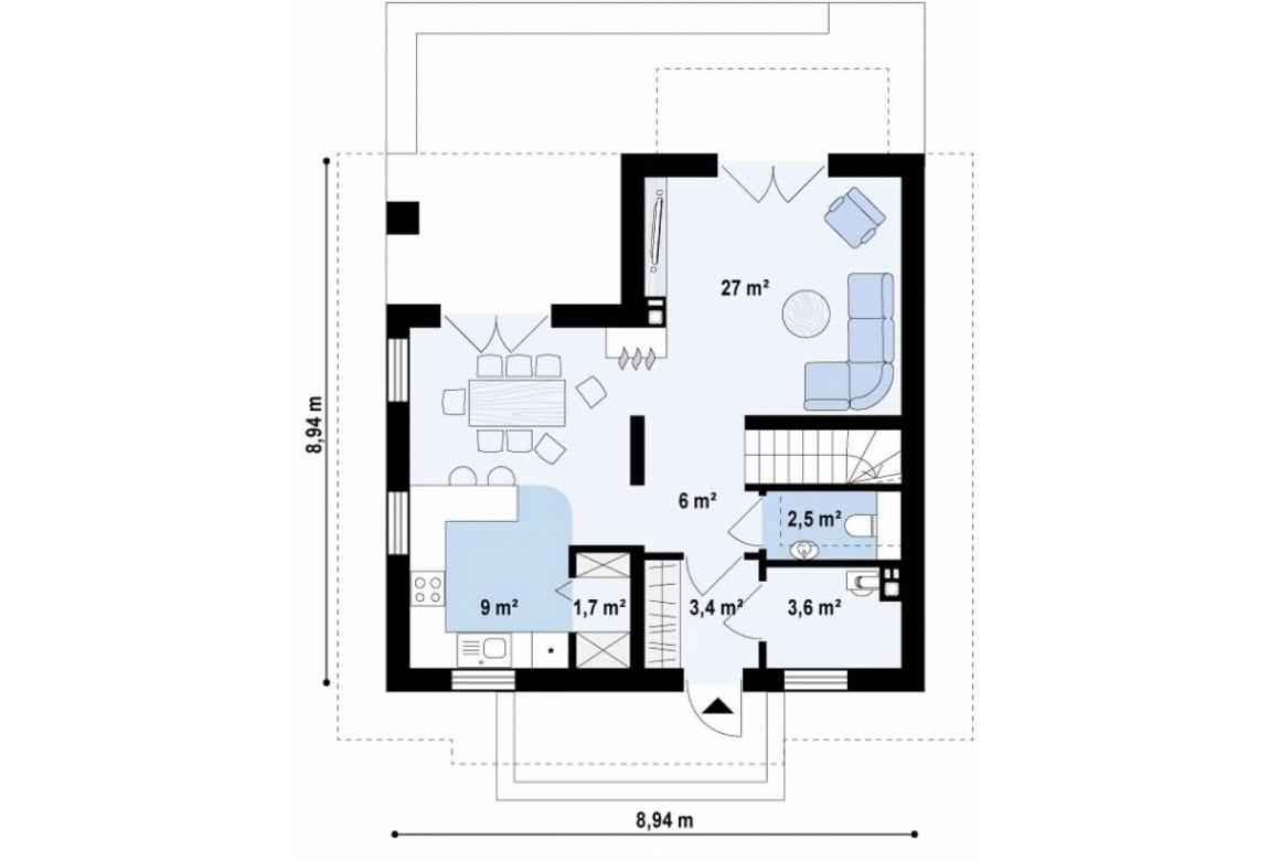 План N1 проекта дома из СИП-панелей АСД-1629