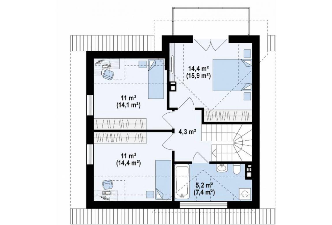 План N2 проекта дома из СИП-панелей АСД-1629