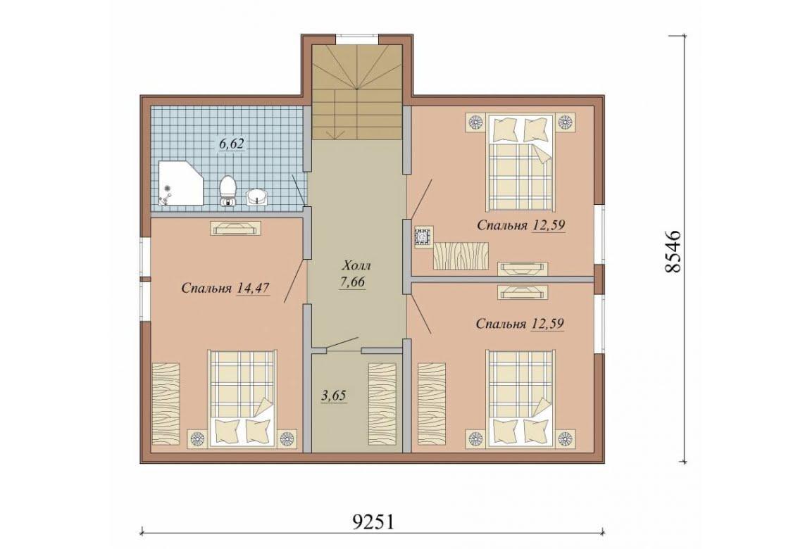 План N2 проекта дома из СИП-панелей АСД-1631