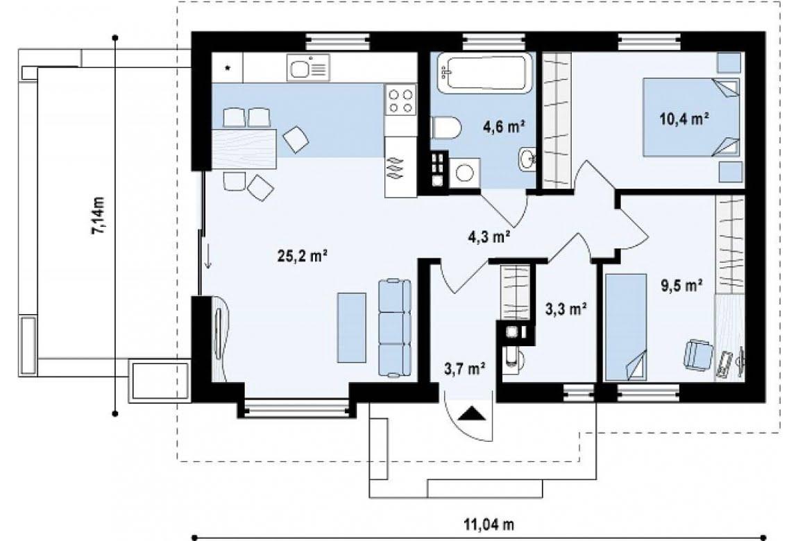 План N1 проекта дома из СИП-панелей АСД-1633