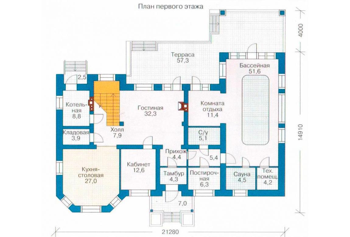 План N1 проекта кирпичного дома АСД-1065