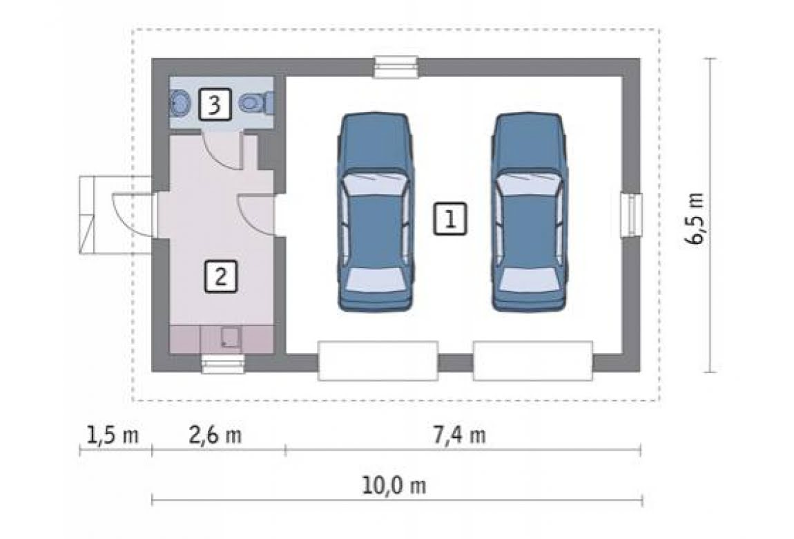 План N1 проекта гаража АСД-1650