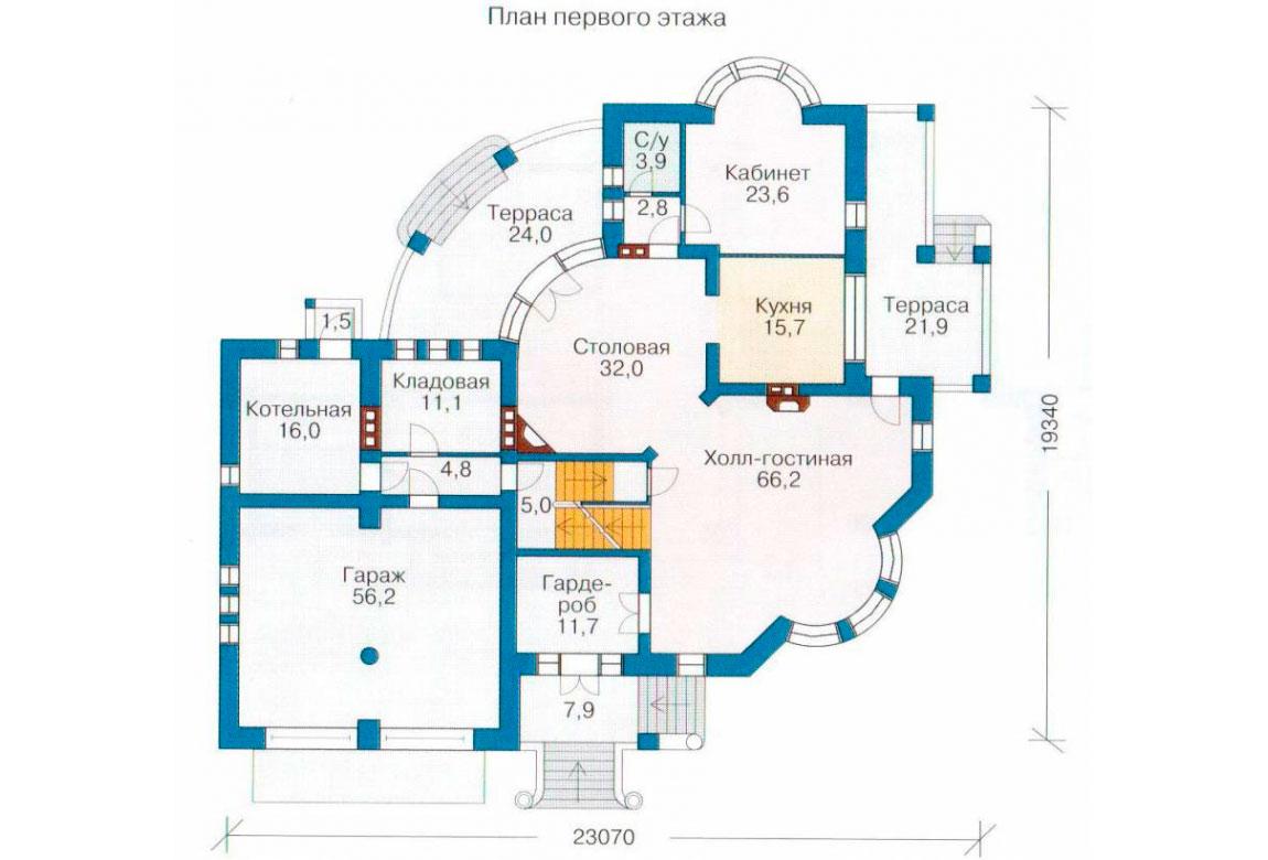 План N2 проекта кирпичного дома АСД-1066