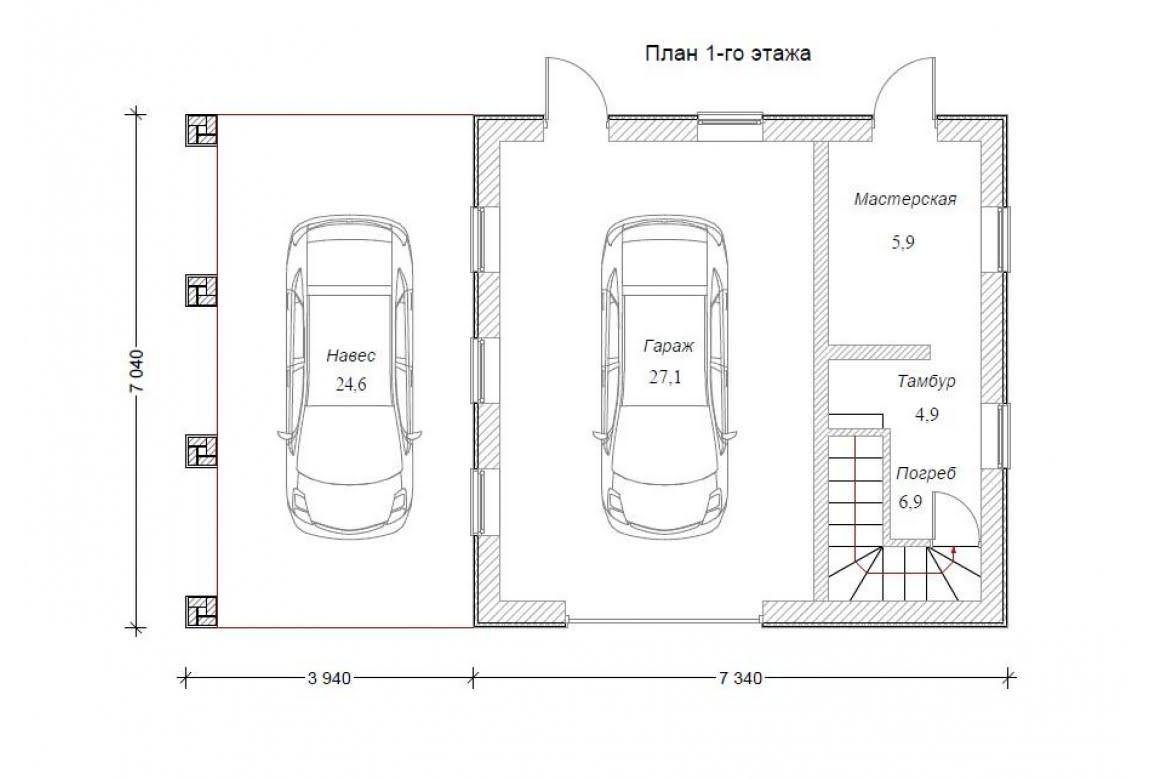 План N1 проекта гаража АСД-1676