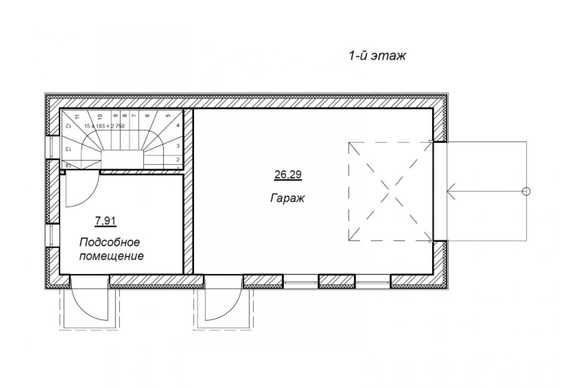 План N2 проекта гаража АСД-1677