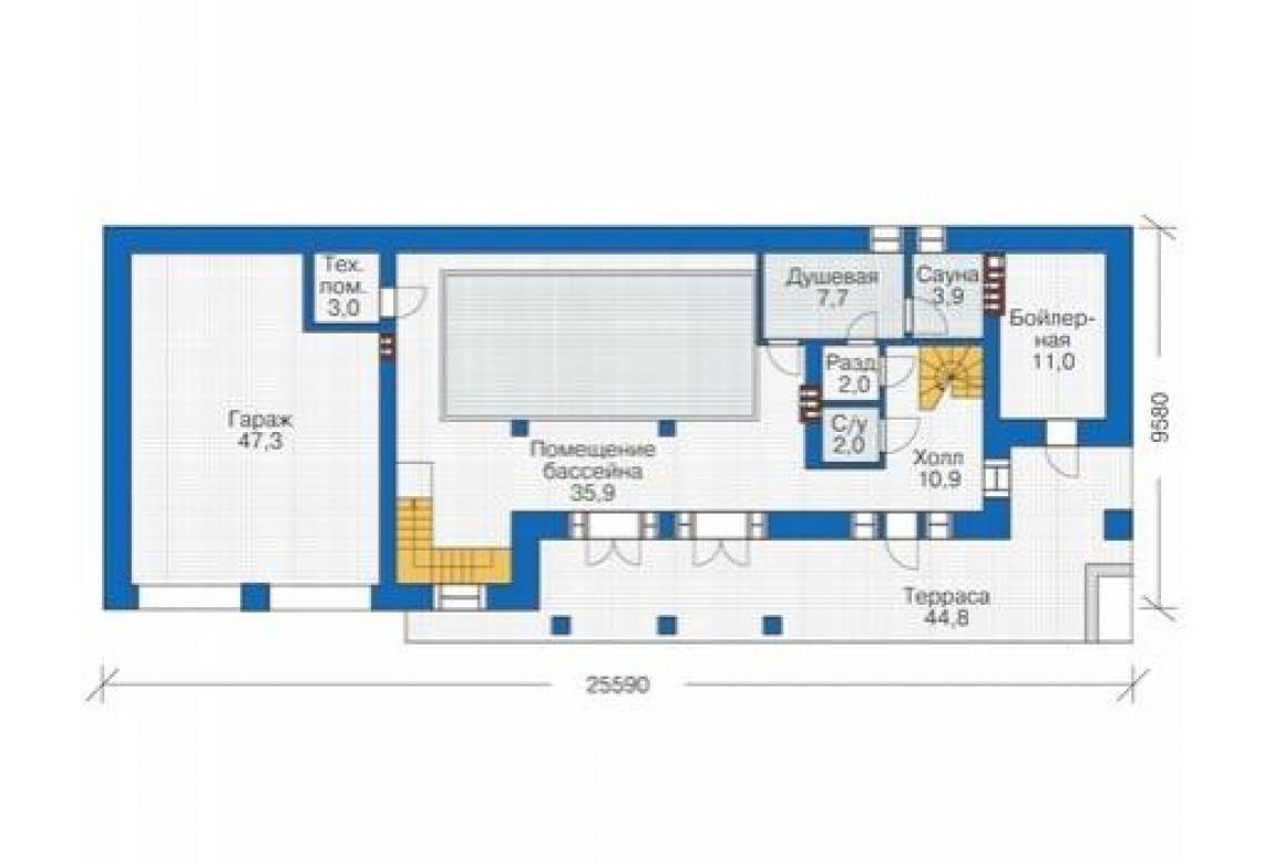 План N1 проекта кирпичного дома АСД-1679