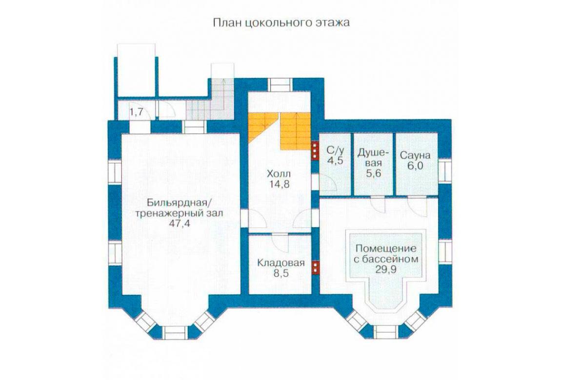 План N1 проекта кирпичного дома АСД-1068