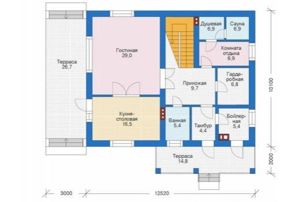 План N1 проекта дома из блоков АСД-1681