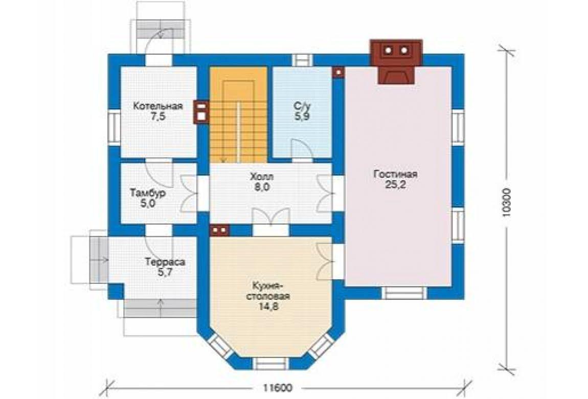 План N1 проекта дома из блоков АСД-1682