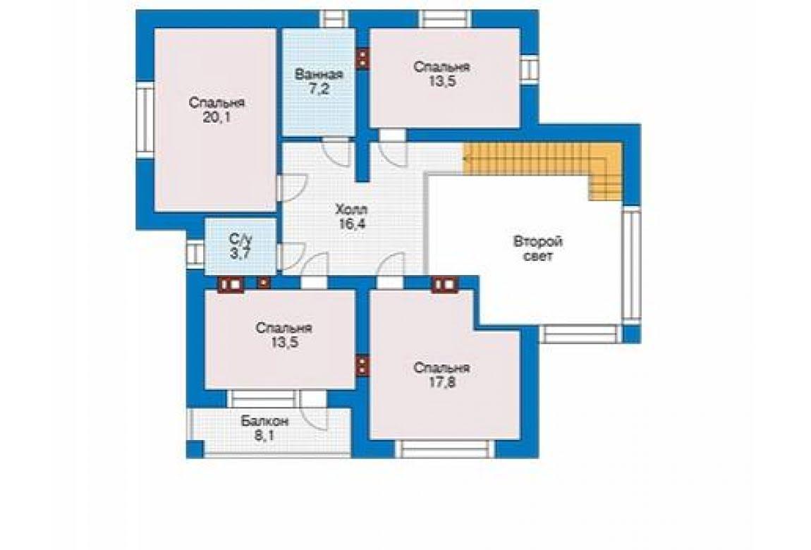 План N2 проекта дома из блоков АСД-1684