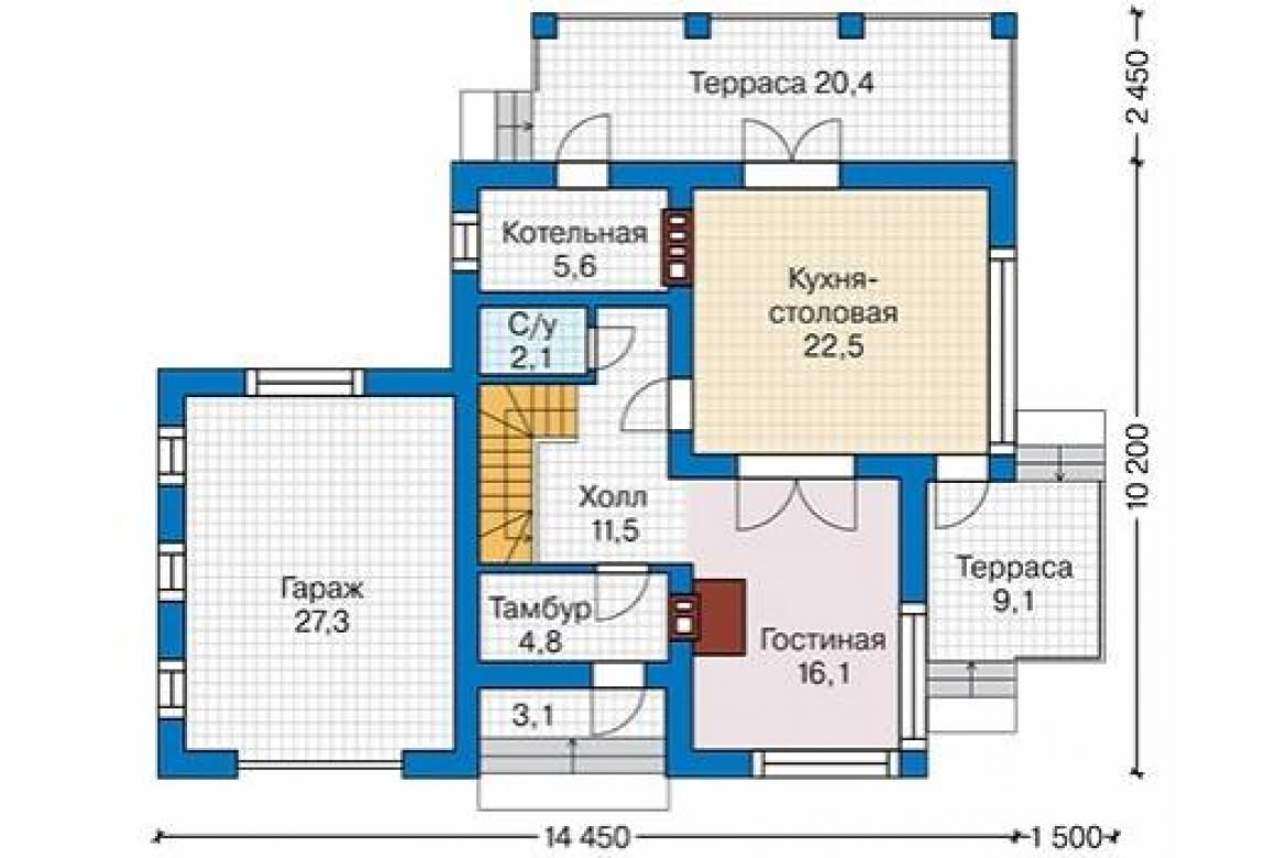 План N2 проекта дома из блоков АСД-1686