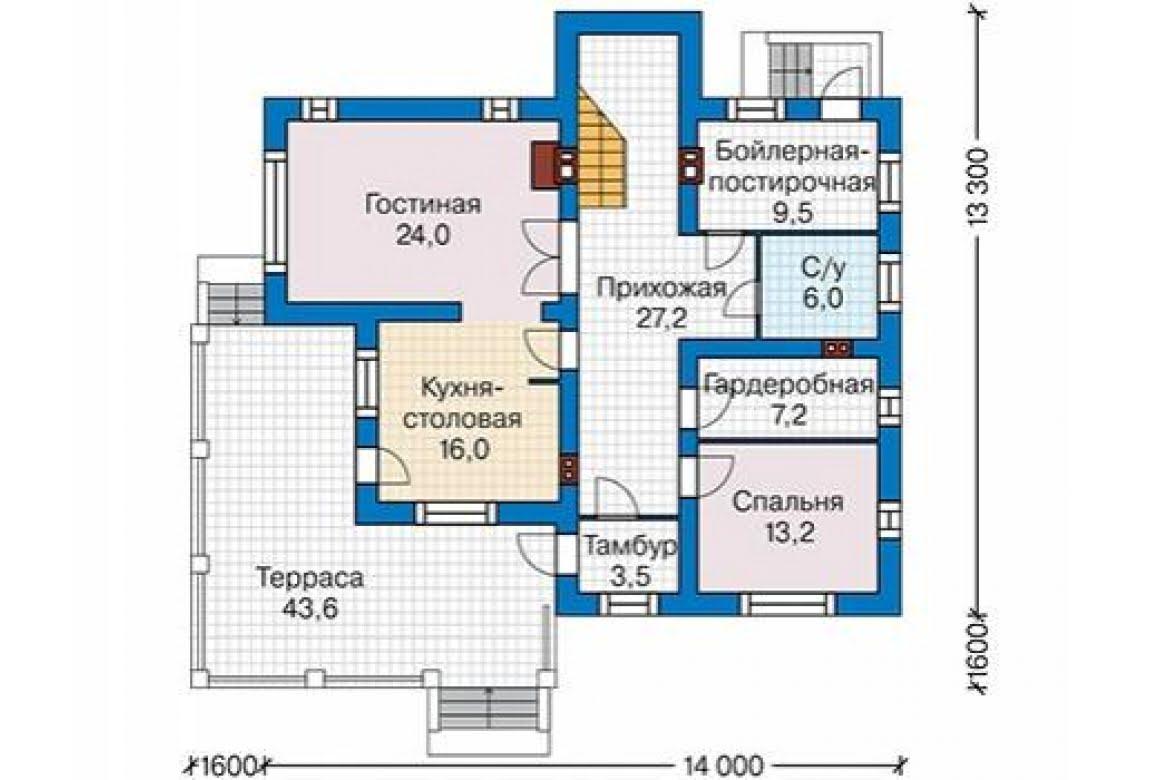 План N2 проекта дома из блоков АСД-1687