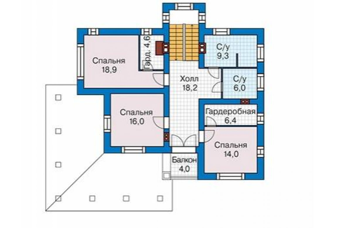 План N3 проекта дома из блоков АСД-1687