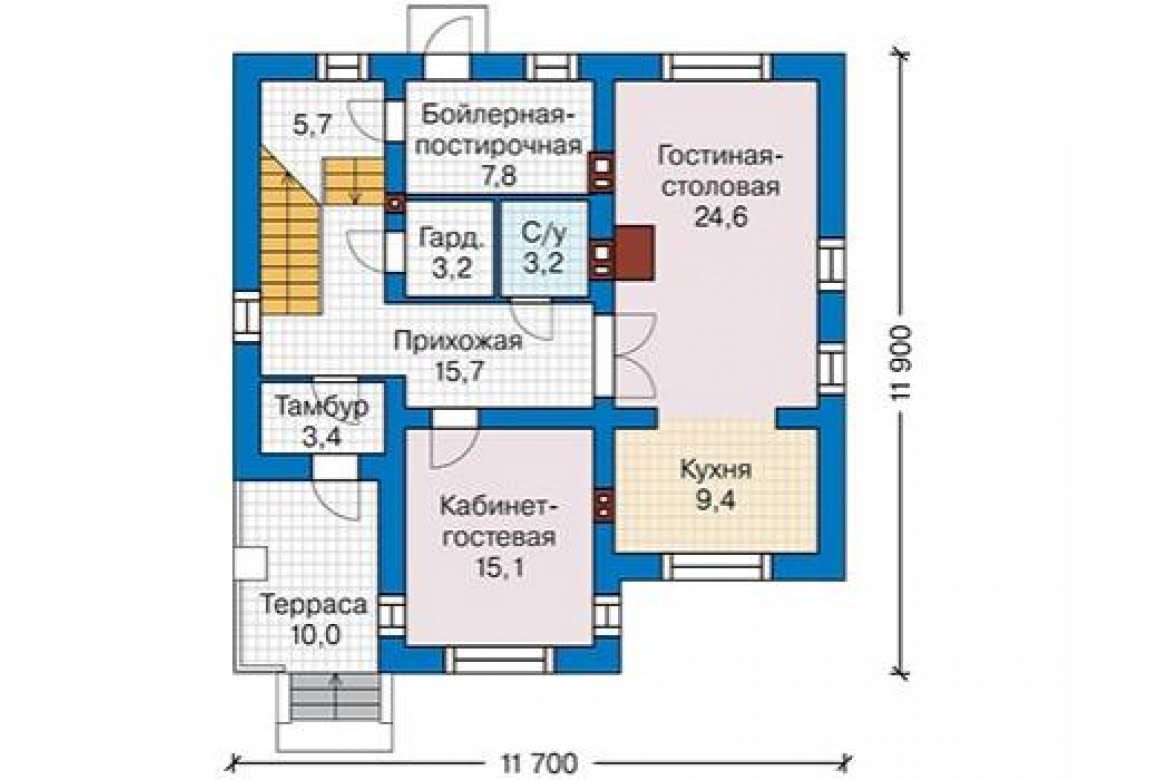 План N2 проекта дома из блоков АСД-1688