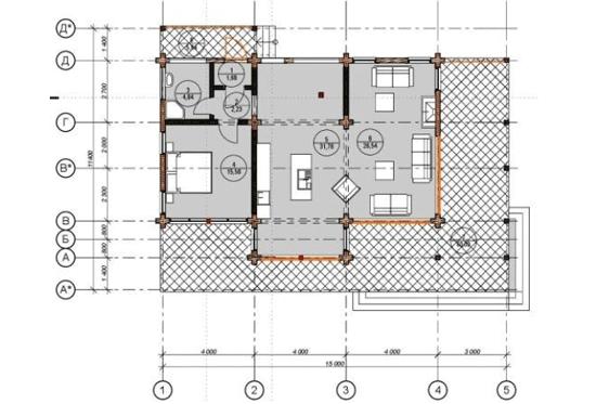Проект дома из клееного бруса Лямарш 230